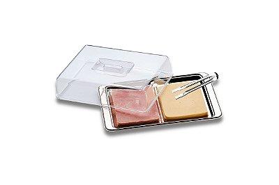 Conjunto para Frios Brinox 3 Peças Atina Aço Inox e Acríilico - Inox e Transparente