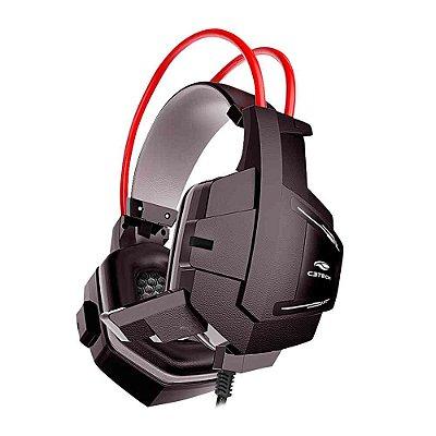 Headset Gamer C3Tech Sparrow com Microfone PH-G11BK - Preto e Vermelho