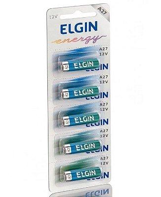 Pilha Alcalina A27 12V Elgin - Blister com 5 Unidades