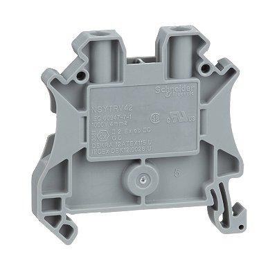Conector Parafuso 4mm2 2 Pontos Cinza - NSYTRV42 Schneider Electric