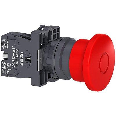 Botão 22mm Plástico Soco Emergência D40mm Empurrar Puxar Vermelho 1 NF - XA2ET42 Schneider Electric