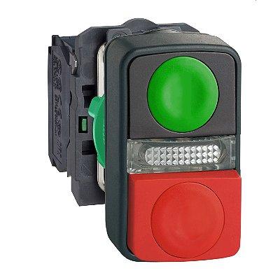 Botão 22mm Plástico Duplo Comando Sinaliz Central 24V 1NA - XB5AW73731B5 - Schneider Electric