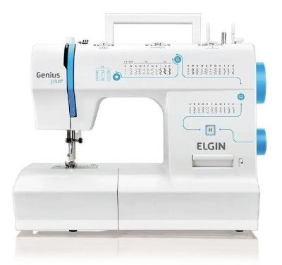 Máquina de Costura Elgin JX-4035 Genius Plus Branca e Azul - 127V