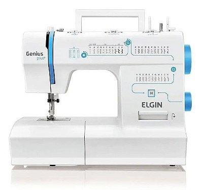 Máquina de Costura Elgin JX-4035 Genius Plus Branca e Azul - 220V