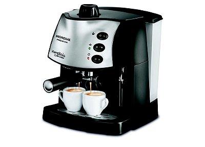 Cafeteira Expresso com 2 Xícaras 800W Preto e Prata - Coffee Cream Premium C-08 - 127V - Mondial