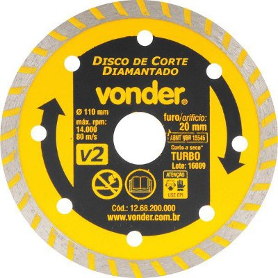 Disco de Corte Diamantado Vonder 110 mm Furo de 20 mm Turbo V2