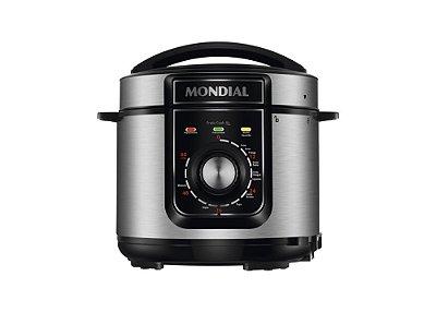 Panela de Pressão Elétrica Mondial Pratic Cook 5 Litros Premium PE-48 Inox e Preto - 127V