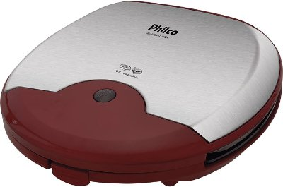 Mini Grill e Sanduicheira Philco 750W Inox e Vermelho - 220V