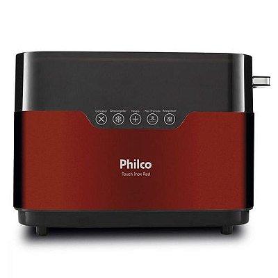 Torradeira Philco Touch com 7 Níveis de Tostagem PTR03 Inox e Vermelho - 220V