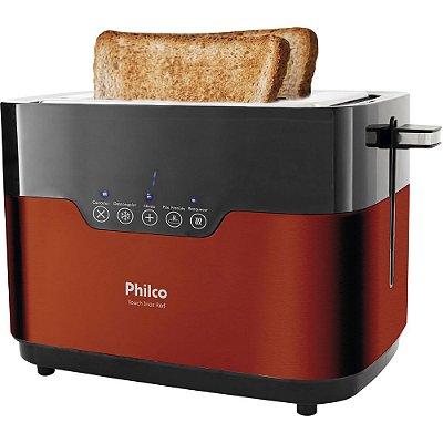 Torradeira Philco Touch com 7 Níveis de Tostagem PTR03 Inox e Vermelho - 127V
