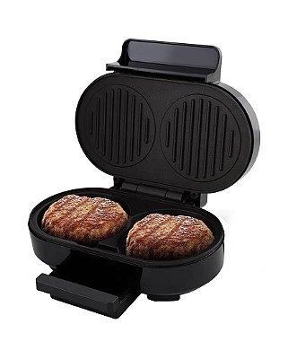 Grill Britânia Gourmet Burger 1000W Inox e Preto - 127V