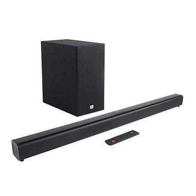 Soundbar JBL Cinema SB160 com 2.1 Canais, 110W, Bluetooth e Subwoofer Sem Fio - Preto