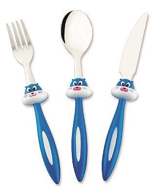Conjunto de Talheres Infantis Hercules Gato Azul com 03 Peças 0553-3