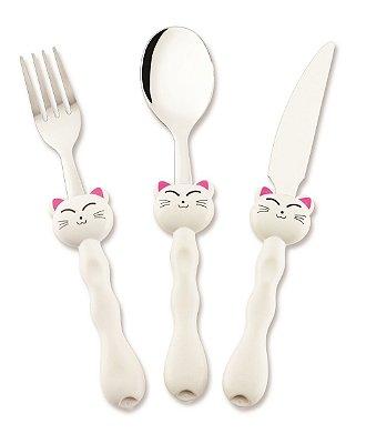 Conjunto de Talheres Infantis Hercules Gato Branco com 03 Peças 05556-3