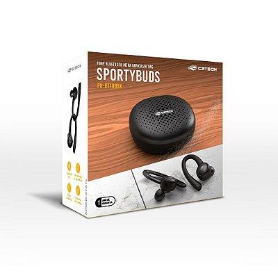 Fone De Ouvido Intra-auricular C3 TECH EP-TWS-100BK Bluetooth 5.0 Sportybuds Preto