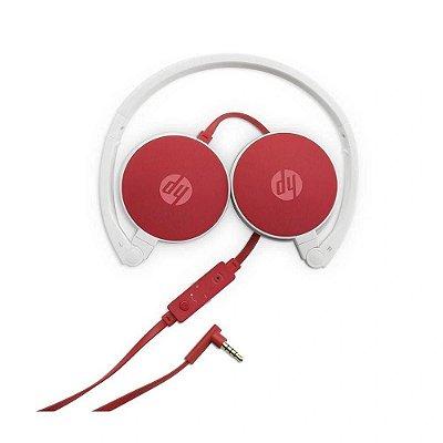 Fone de Ouvido Headphone HP com Microfone Dobrável H2800 Cardinal Vermelho