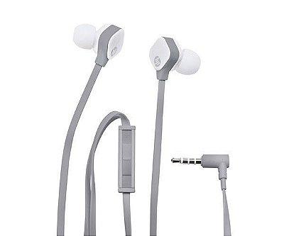 Fone de Ouvido Intra-Auricular HP com Microfone H2310 Cinza e Branco