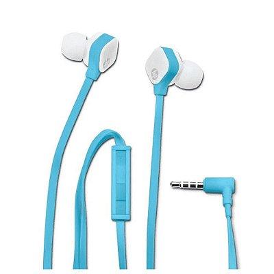 Fone de Ouvido Intra-Auricular HP com Microfone H2310 Azul e Branco