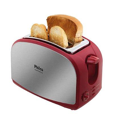 Torradeira Philco French Toast com 7 Níveis de Tostagem Inox e Vermelho - 220V
