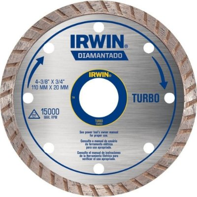 Disco de Corte Diamantado Irwin 4.3/8 Pol Turbo 110x20mm