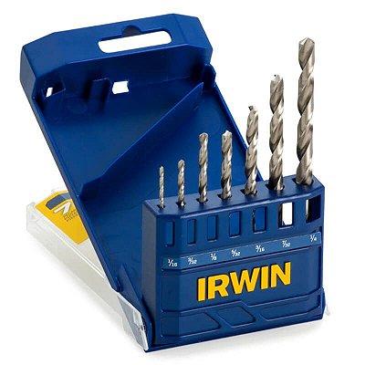 Jogo de Brocas Irwin Aço Rapido 1/16 a 1/4 para Metal 7 Peças