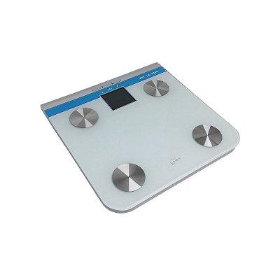 Balança Digital Gama Italy Fit Ultra até 150Kg Branca e Azul - Bateria