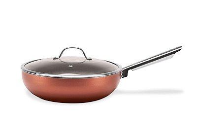 Wok com Tampa 3,55 Litros - Curry 28 x 8 cm - Cobre - Brinox