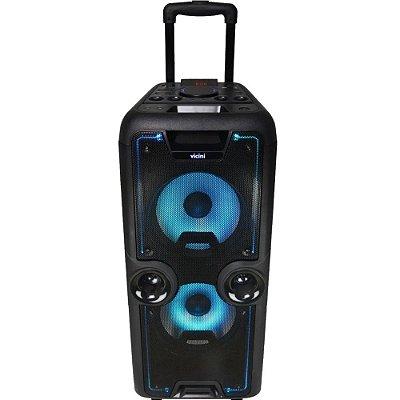 Caixa de Som Bluetooth Vicini com Rodinhas 800W Rms VC-7650 Preta - Bivolt
