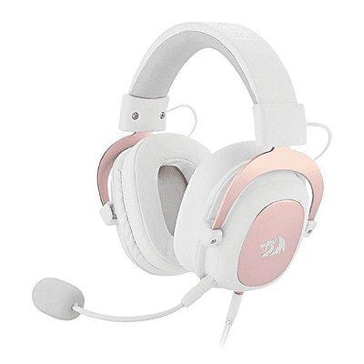 Headset Gamer Redragon Zeus 7.1 com Microfone Sakura Limited Edition - Branco e Rose Gold