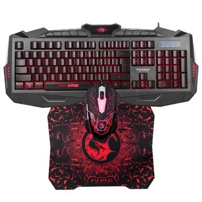 Kit Teclado e Mouse Gamer com Mouse Pad Gamer Marvo KM400+G1 Usb com Backlight - Preto