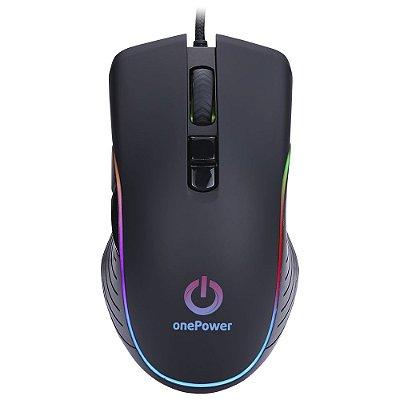 Mouse Gamer OnePower Striker MO-505 Usb 7 Botões 3200Dpi - Preto