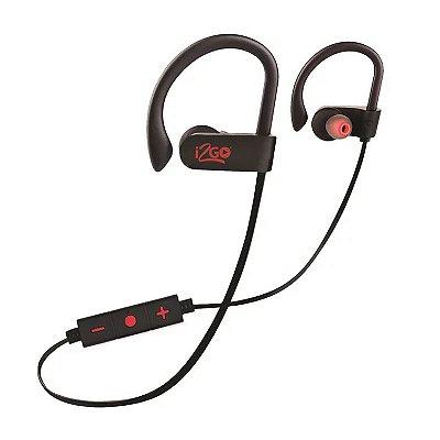 Fone de Ouvido Intra-Auricular Bluetooth i2GO Pro Sport Extreme com Microfone PROEAR003 - Preto e Vermelho