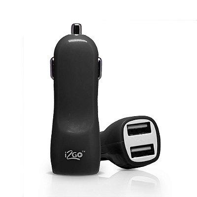 Carregador Veicular i2GO com 2 Saídas USB 3,4A I2GCAR045 - Preto e Cinza