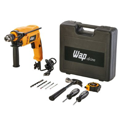 Furadeira de Impacto Wap EFI 600K10 600W com Maleta e 11 Acessórios 600W - Preto e Amarelo