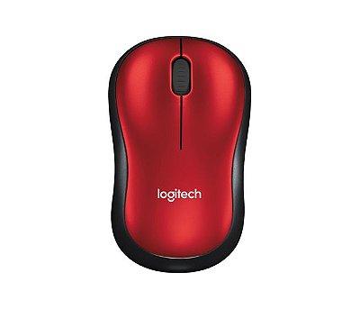 Mouse sem Fio Logitech Wireless M185 1000 Dpi - Vermelho