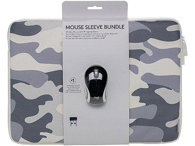 """Kit Mini Mouse sem Fio Logitech M187 Preto e Capa Camuflada para Notebook até 14"""""""