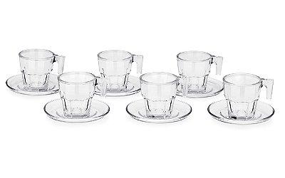 Conjunto de 6 Xícaras Haus Concept Café com Pires Pavillion Xícara: 7,5x6,8x 6,1cm e Pires:10x1,9cm 70ml - Incolor