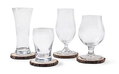 Conjunto de Copos Haus Concept para Degustação de Cerveja + Descaços para Copos 8 Peças Tap - Incolor