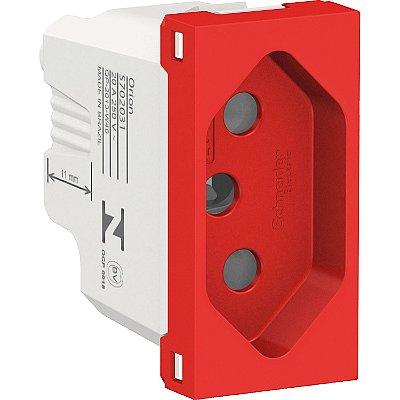 Módulo Tomada BR Orion 2P+T 20A 250V Antibacteriano Vermelho - S70203134 - Schneider Electric