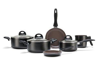 Conjuno de Panelas Brinox Ceramic Life Smart Plus com 06 Peças - Preto