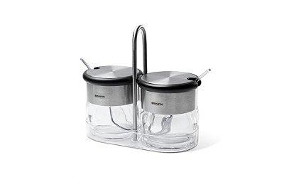 Conjunto Porta-Condimentos Brinox Crystal 2 Peças com Colher 15,2x7,5x4,8cm 110ml - Acrílico e Inox