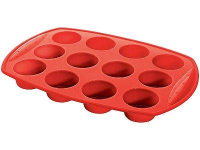 Forma para Muffin Hercules de Silicone Retangular 12 Cavidades - SLC130 Vermelha