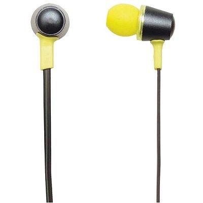 Fone de Ouvido MaxPrint com Microfone 609983 - Preto e Amarelo