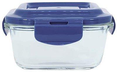 Pote de Vidro Oikos Quadrado 520ml com Tampa - Incolor e Azul