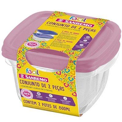 Conjunto de 2 Potes Quadrados de Plástico Sanremo Fácil 800ml - Sortidos
