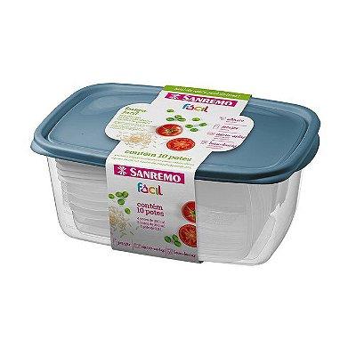 Conjunto de 10 Potes de Plástico Sanremo Fácil com 4 Potes de 280ml, 5 Potes de 360ml e 1 Pote de 3200ml - Sortidos Cores Azul ou Rosa