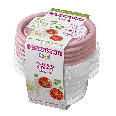 Conjunto de 4 Potes Redondos de Plástico Sanremo Fácil 230ml - Sortidos