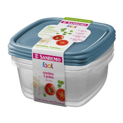 Conjunto de 3 Potes Quadrados de Plástico Sanremo Fácil 800ml - Sortidos