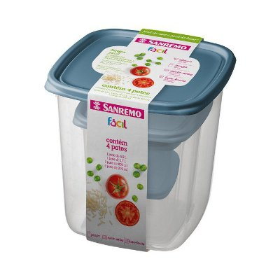 Conjunto de 4 Potes de Plástico Sanremo Fácil com Unidades de 200ml, 800ml, 1700ml, 4500ml - Sortidos