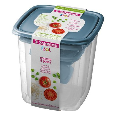 Conjunto de 5 Potes de Plástico Sanremo Fácil com Unidades de 200ml, 800ml, 1700ml, 4500ml e 7000ml - Sortidos